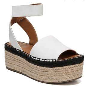Franco Sarto white espadrille platform sandals